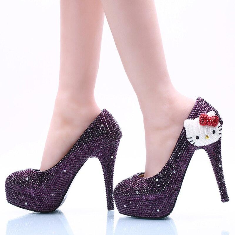 ФОТО Handmade Purple KT Crystal Wedding Shoes Bride Wedding Formal Dress Shoes Purple Rhinestone Party Prom Pumps Bridesmaid Shoes