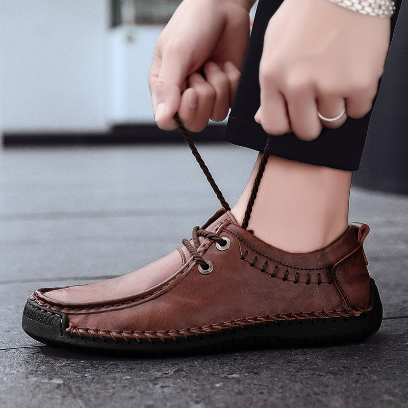 Rommedal Plus Size 38-48 Boat Shoes Men Leather Handmade Lace-up Outdoor Flats Casual Shoes Man Lightweight Moccasins Loafers