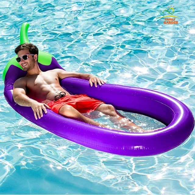 250cm 98inches Giant Swimming Float Inflatable Eggplant Aubergine Brinjaul  Mesh Pool Air Mattress Lounges Water Toys