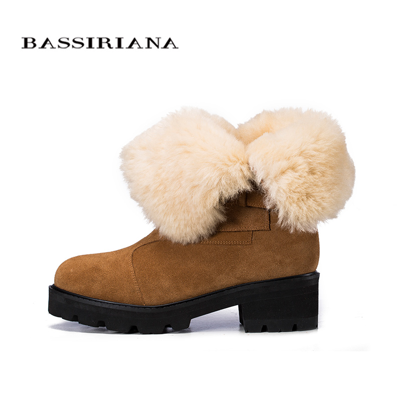 BASSIRIANA Fashion 2017 New Winter genuine leather  Warm Winter Boots Female Snow Boots Flats Shoes High Quality-in Mid-Calf Boots from Shoes    3