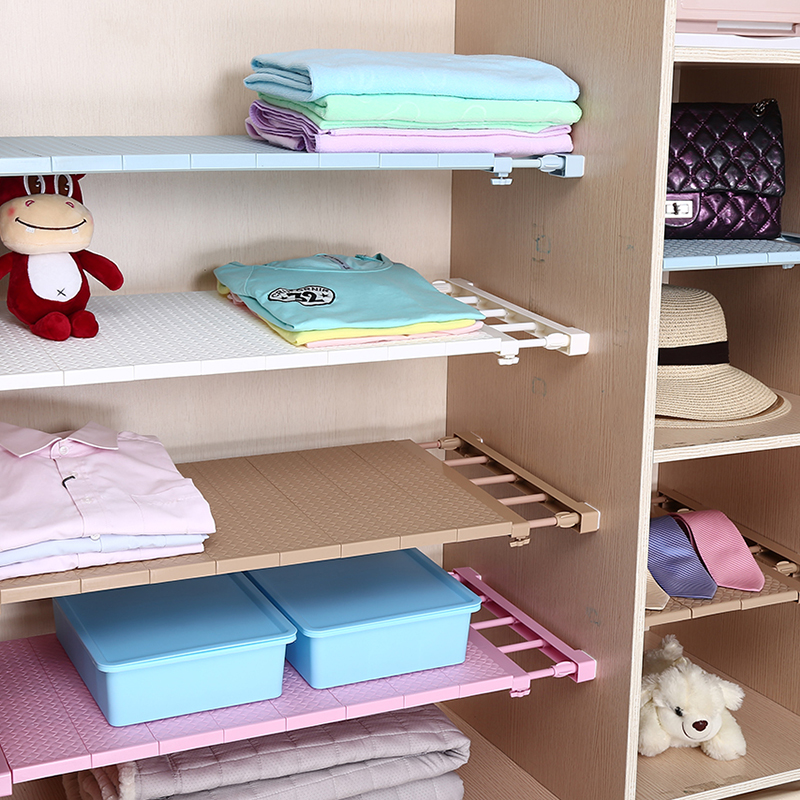 2018 New Adjustable Closet Storage Organizer Shelf Wall Mounted Kitchen Rack Wardrobe Home Decoration Shelves Holders