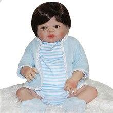 """Boy doll reborn 22 """"tam silikon vinil vücut çocuk bebe hediye bonecas reborn reborn bebekler bebekler için toys"""