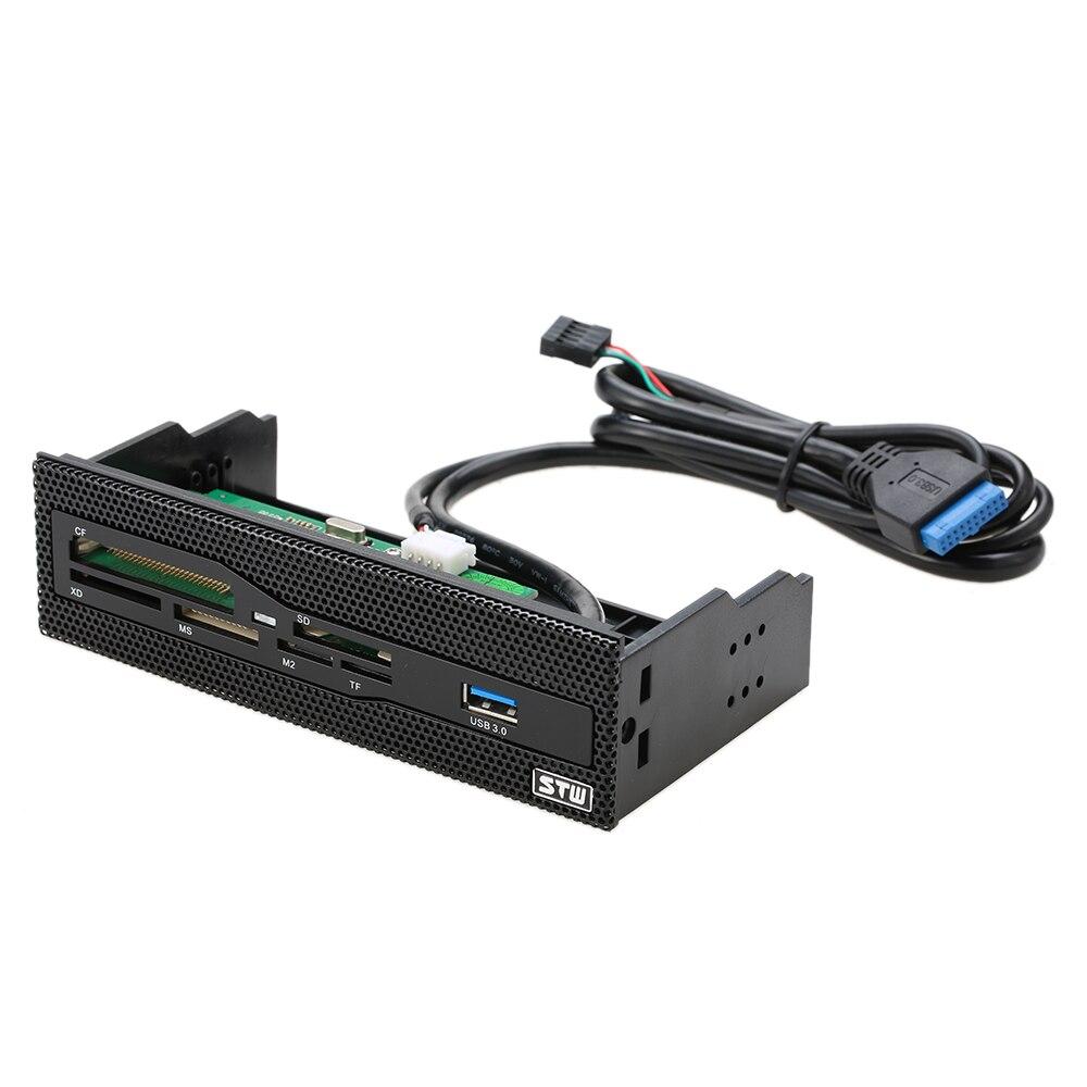Lector de tarjetas interno USB 5,25 de 3,0 pulgadas, tablero de instrumentos, Panel frontal de PC, lector de tarjetas todo en 1, compatible con CF XD MS M2 TF SD Concentrador micro USB 3,0 Combo 3 puertos Spliter adaptador de corriente TF/SD/MS/M2 lector de tarjetas todo en uno PC Accesorios de ordenador