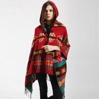 2019 Hot European Geometric Pattern Tassel National wind Women Hooded Cape Poncho women's Shawls Scarf Bohemian scarves Pashmina