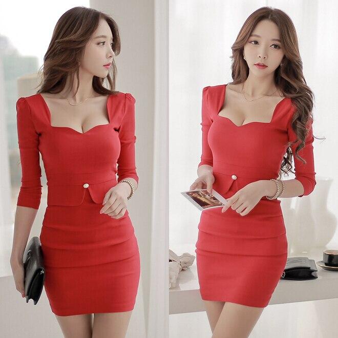 Mme sexy boîte de nuit paquet hip femmes d'été version coréenne du nouveau printemps automne vêtements 2018 jours à manches longues robe enfant