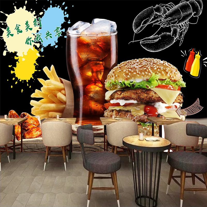 Custom Photo Wall Paper Self-adhesive Wall Sticker Restaurant Cafe Burger Shop Wall Decoration Poster Mural Papel De Parede 3D
