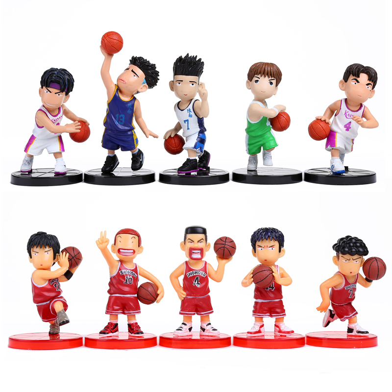 Anime Slam Dunk PVC Action Figures Dolls Boys Toys Doll Birthday Christmas Gifts 10pcs/set SDFG008 free shipping hello kitty toys kitty cat fruit style pvc action figure model toys dolls 12pcs set christmas gifts ktfg010