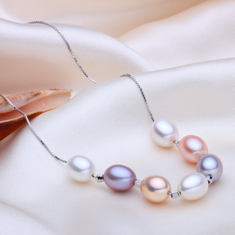 69c6bec8b3788 2016 Fashion Necklace Pearl Jewelry Mixed Color 7-8mm Natural Pearl Necklace  With 925 Sterling Silver Beads and Silver Chain
