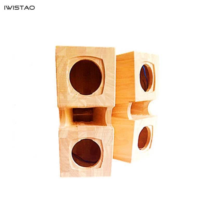 IWISTAO HIFI 3 Inch Full Range Empty Speaker Enclosure Squat Parallel Double Labyrinth Plus Surface Combination Horn Solid Wood