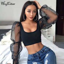 Hugcitar puff lange hülse spitze mesh sehen-durch patchwork sexy crop tops 2019 frauen frühling mode party streetwear T-shirts(China)