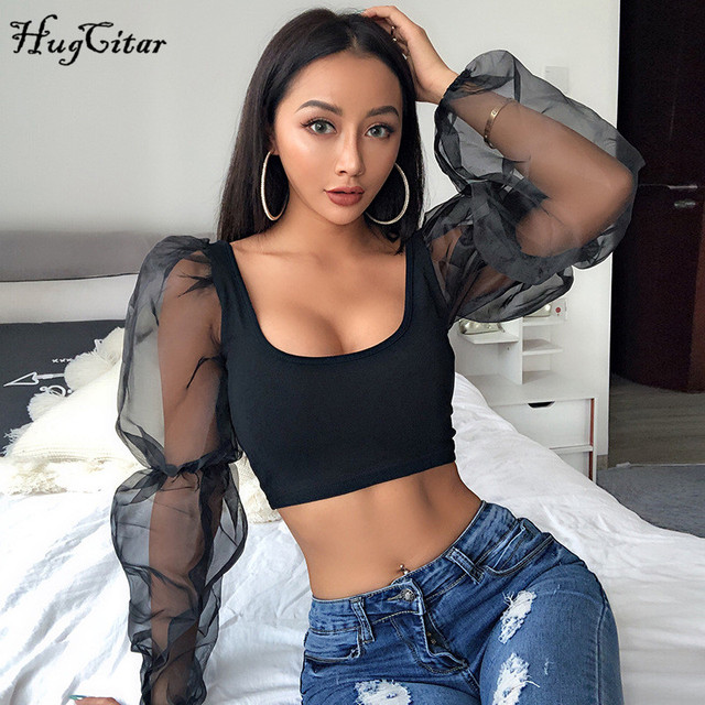 Hugcitar puff long sleeve lace mesh see-through patchwork sexy crop tops 2019 women spring fashion party streetwear T-shirts