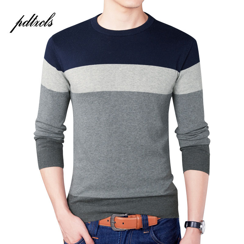 New High Quality Pure Cotton Striped Pullover Full Sleeve O-Neck Sim Fit Mens Sweater Fashion Men Sweaters Big Size Smart Casual