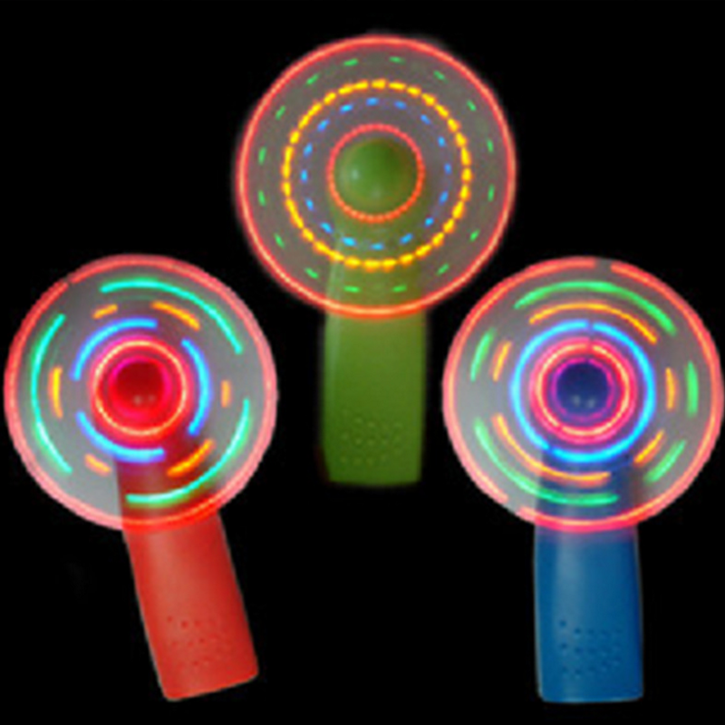 1pc Fun Hot Sale Plastic LED Color Fan Matrix Portable Mini Air Cool Fan Green Blue Light Up Luminous Toys Gift