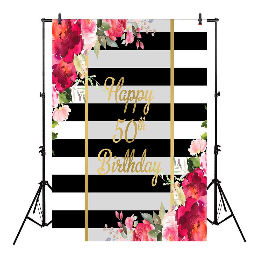 white and black stripes backdrop happy 50th birthday theme photographic background party banner