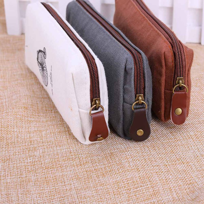 Zipper Bag Fashion Cute Vintage 1PC Hot Sale Purse Handbags Pen Case Coin Pouch Canvas Paris Pencil Cosmetic Makeup handmade vintage leather zipper pen pencil pouch wallet glasses toolkit toiletry cosmetic makeup bag case 9115fs