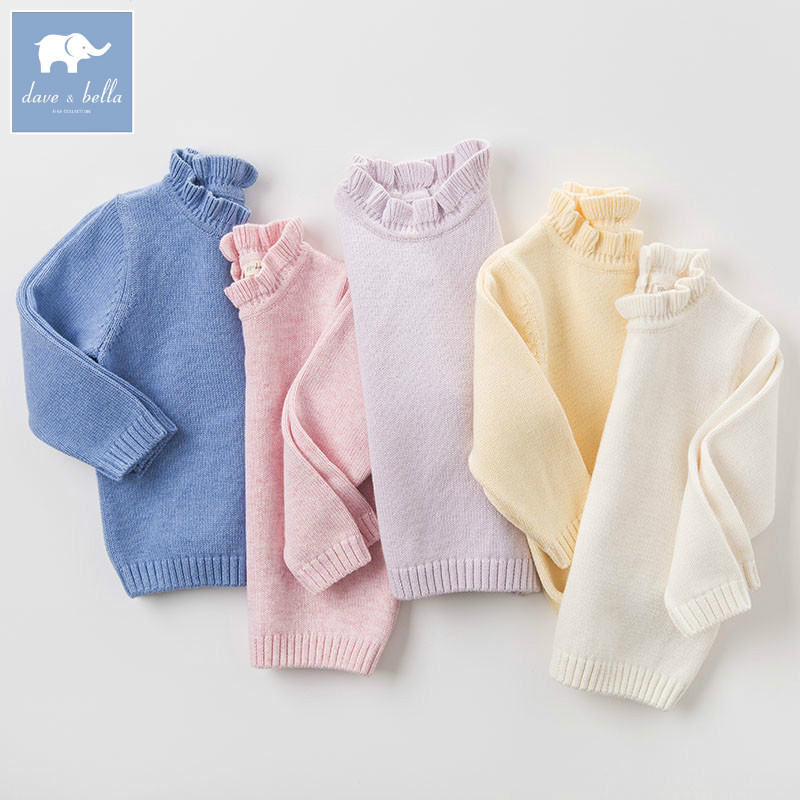 DB6482 dave bella autumn infant baby girls wool pullover tops kids lolita clothes children toddler knitted Sweater