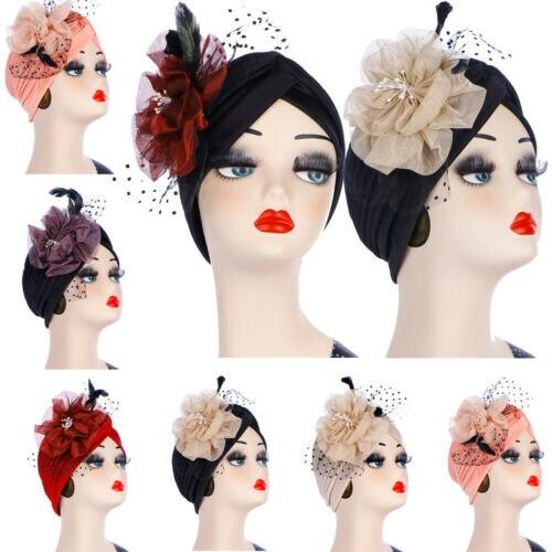Women Flowers Muslim Turban Hat Indian Headscarf Cancer Chemo Cap Prom Headwear in Women 39 s Skullies amp Beanies from Apparel Accessories