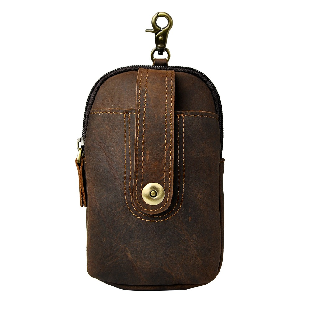 Real Leather Men Casual Design Small Waist Bag Pouch Cowhide Fashion Hook Waist Belt Pack Cigarette Case Phone Pouch 012