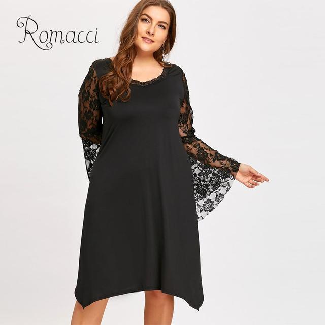 Romacci Elegant Flare Sleeve Lace Dress Female O-Neck Sexy Loose Plus Size  Asymmetric Dress Women Club Party Black Dress 2019 e3f729385b9f