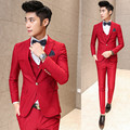 ( suit + vest + pant ) 2017 premium brand groom wedding dress men's marry suit / Male slim high-grade pure color business suit