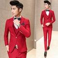 ( suit + vest + pant ) 2017 premium brand groom wedding dress men's marry suit / Male slim high-grade pure color business suit