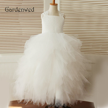 Gardenwed 2019 Ball Gown Floor Length Flower Girl Dresses White Lace Tiered Puffy Little Girls Kids Dress for Wedding new cute sleeveless criss cross back backless puffy tiered scoop neck white ball gown flower girl dress for wedding kid gown