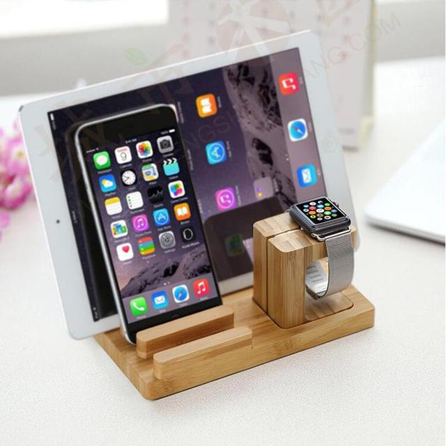 For Iphone 6 6s 6plus Natural Bamboo Charging Dock Station Bracket Cradle Stand Holder For Apple Watch IPad Xiaomi Samsung HTC