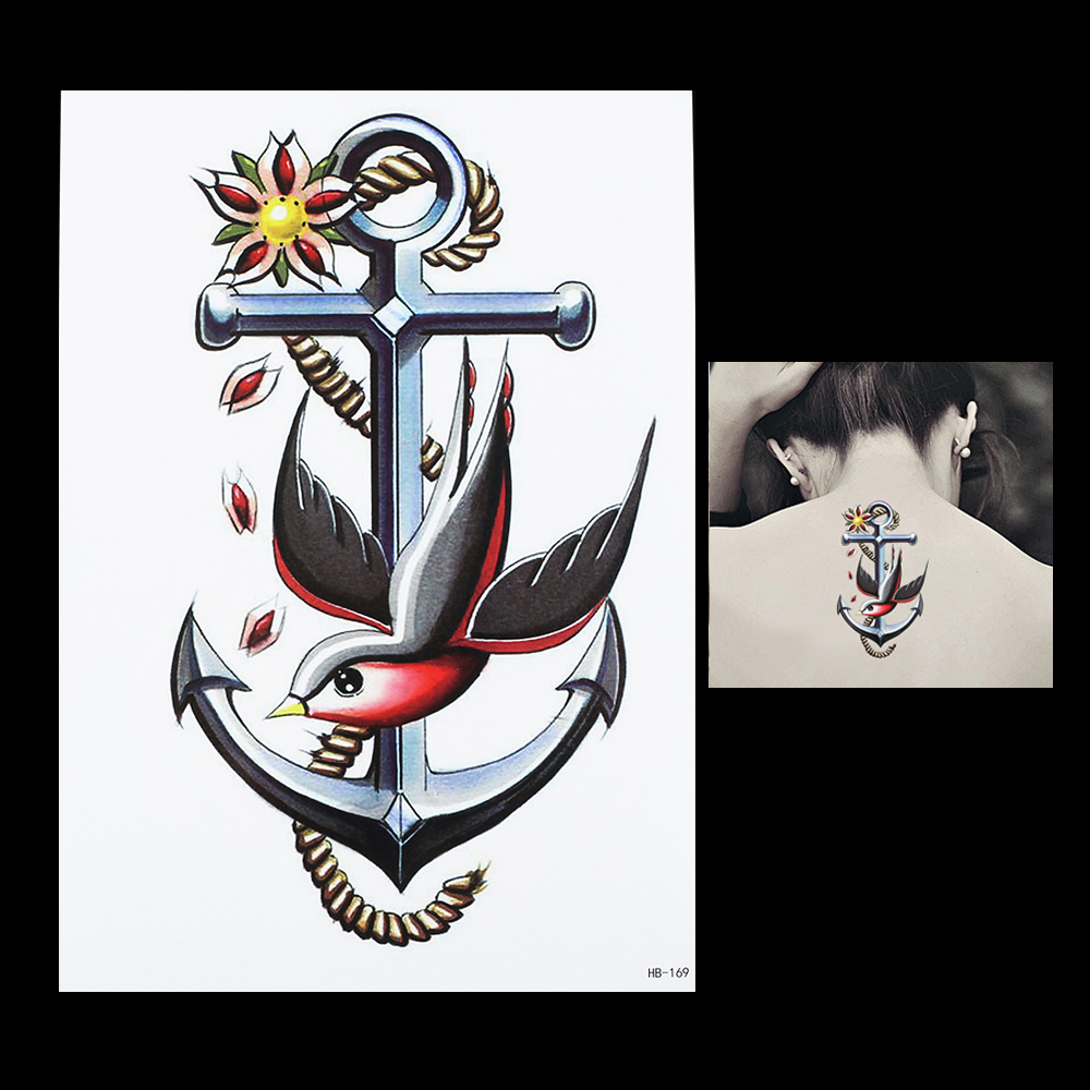 Actor Porno B A R Cuchillo Tatuado ⑦1 unid 3d anchor swallow pájaro flor hombro brazo cuerpo