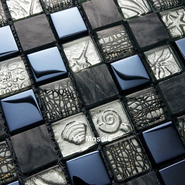 Luxus Grau Stein Gemischten Schwarz Glas Metall Mosaik Fliesen, Küche  Backsplash Taille Badezimmer Dusche