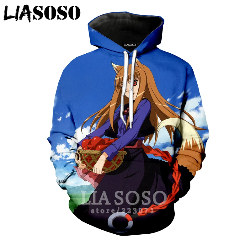 LIASOSO Hiver Nouvelle Mode Hommes Femmes 3D Impression Anime Spice and Wolf À Capuche Unisexe Long Top Manches Sweat Top Pull a190-18