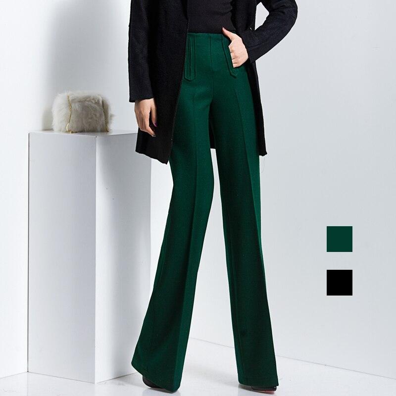 Winter High Waisted Wide Leg Pants Women Office Formal Wool Las Woolen Trousers Calca Social Feminina Pantaloni Donna In Capris From