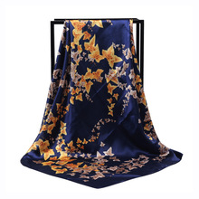 New Arrival Fashion Women soft satin brand scarf / ivy Maple leaf Printed quare silk scarves 90cm Gifts Wholesale