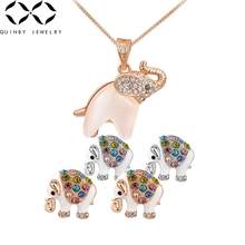 Quinby Rhinestone Pendant Necklace Women Elephant Necklace Bridal Rose Gold Girl Party Chokers Necklace Crystal Girl Colar Q4