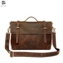 New Retro Crazy Horse Genuine Leather font b Men s b font Briefcase Handbag Shoulder Bussiness