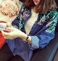 [Soonyour] 2016 новый осень зима мода Фонд Ногтей Жемчужина Ковбой Свободные Пальто Короткие Свободные Пальто Куртка Блестки женщина AL5601