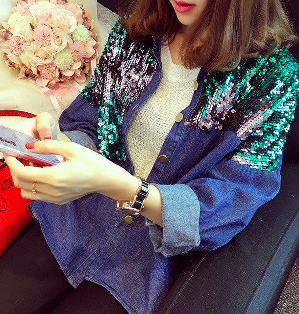 [soonyour] 2016 new autumn winter fashion Fund Nail Pearl Cowboy Loose Coat Short Loose Coat Jacket Sequins woman AL5601