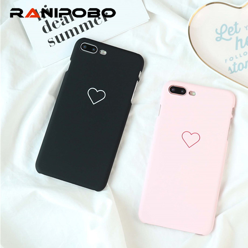Love Heart Painted Phone Case For Samsung Galaxy S8 S7 S6 edge Couples Case Hard PC Back Cover Cases Couque For iphone 6 6s Plus