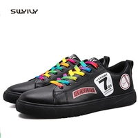 SWYIVY Men Skateboarding Shoes Bonded Leather Colorful Lace Up Sneaker 2018 Anti Slip Light Weight Male