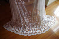 off white tulle lace fabric with hollowed out floral, 10 yards