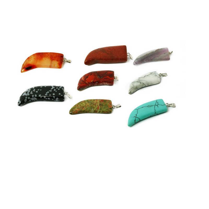 おしゃれなナチュラル宝石ストーンチャームペンダントホーン形状多くスタイル U-ピック 16 × 35 ミリメートル BTB707