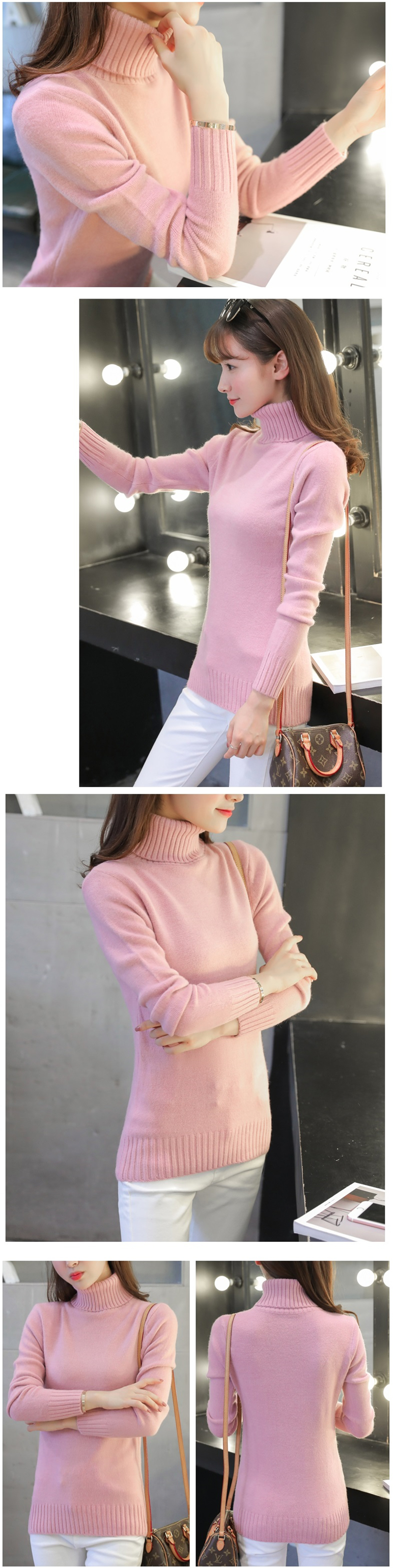 18 New Autumn winter Women Knitted Sweaters Pullovers Turtleneck Long Sleeve Solid Color Slim Elastic Short Sweater Women K861 12