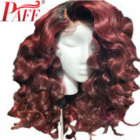 PAFF 180% Density 1B/99J Red Lace Front Human Hair Wigs Wavy Burgundy Ombre Brazilian Remy Hair Wig For Women Pre Pluck