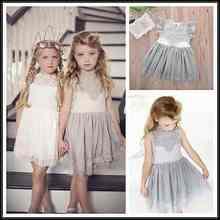 26afe4db9c773b Hot-sprzedaży Dziecka Dla Dzieci Dziewczyny Maluch Księżniczka Party Różowy/Szary/Biały  Kwiat. 3 dostępne kolory