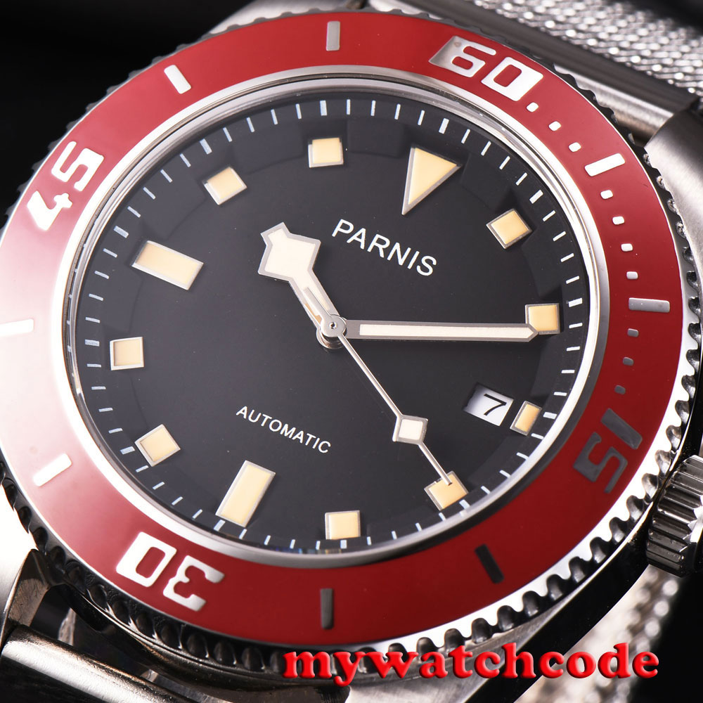 43mm parnis black dial red bezel sapphire glass miyota automatic mens watch P591