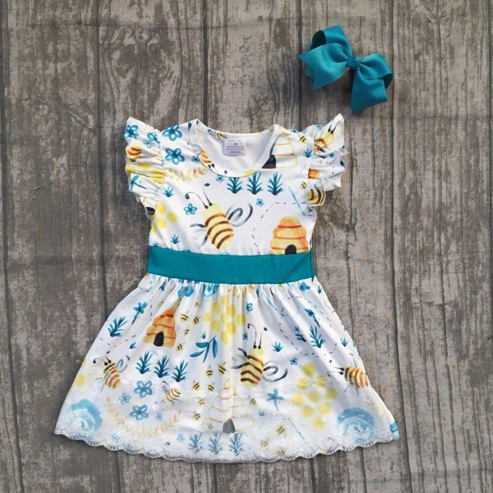 все цены на baby girls summer dress clothing girls BEE dress children boutique summer dress children lace ruffle dress with match bows