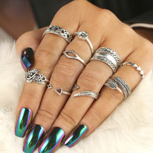 Trend Bohemian Knuckle Rings for Women Geometric Vintage Leaves Totem Set Alloy Jewelry Accessories Yuzuk