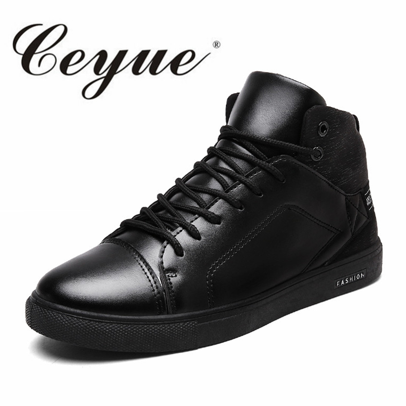 Ceyue High Quality PU Leather Men Shoes 2017 Fashion High Top Men Casual Shoes Breathable Walking Male Lace Up Brand Shoes Black