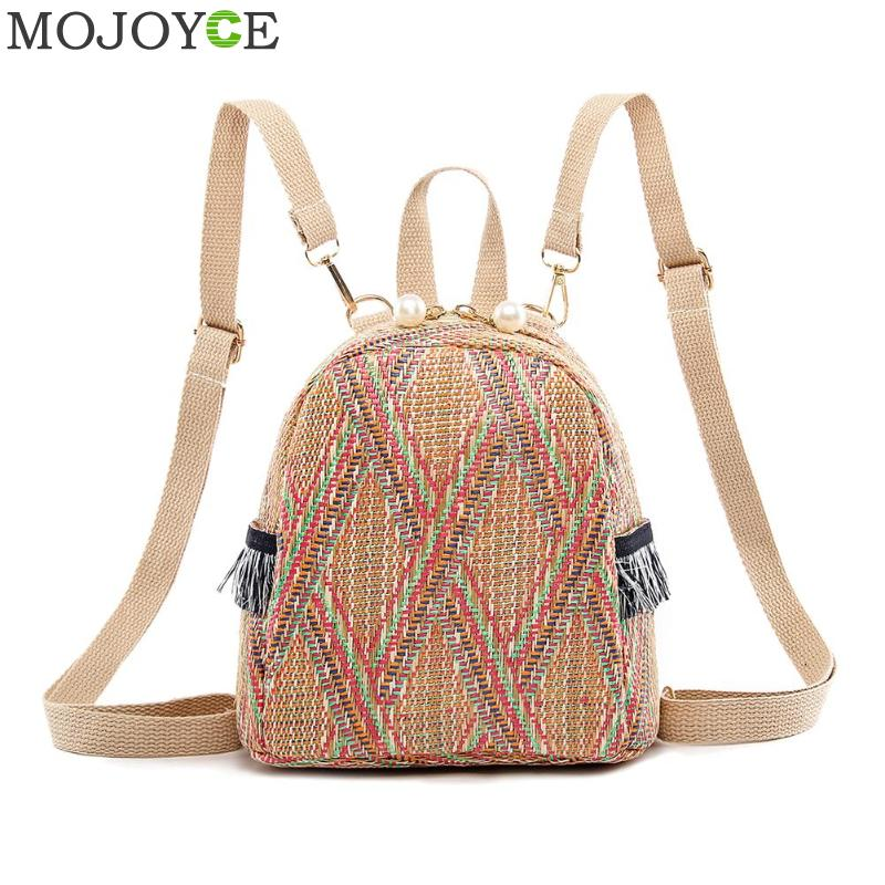 Fashion Straw Woven Backpack Women Back Pack Summer Teenage Girl Quality Backpacks Travel Bags Books Rucksack