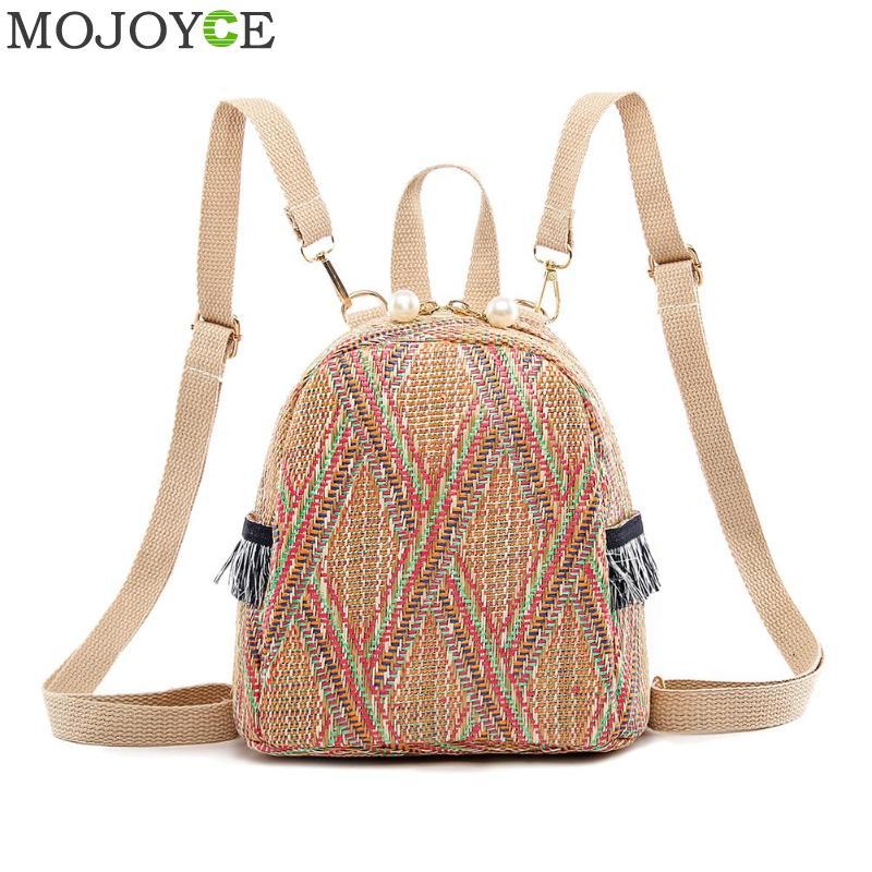 Fashion Straw Woven Backpack Women Back Pack Summer Teenage Girl Quality Backpacks Travel Bags Books Rucksack