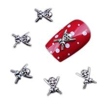 10pcs Skull Design Alloy Nail Art Decorations Use with Glue Other Gel System. DIY Silver 3D Nail Beauty(China)